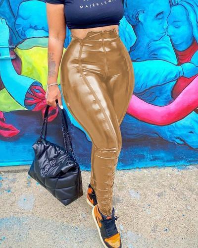 Zip Front Faux Leather Pants