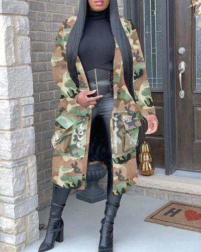 Camouflage Print Patch Coat