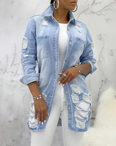 Fashion Casual Denim Jacket Ripped Sexy Plus Size Coats