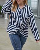 Retro Classic Striped Shirt Blouse