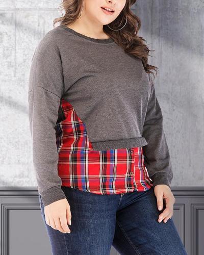 T-shirt Top Fake Two Piece Stitching Slim Round Neck Long Sleeve Sweatshirt