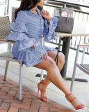 Layered Ruffled Sleeves Drawstring Tie Hem Striped Dress