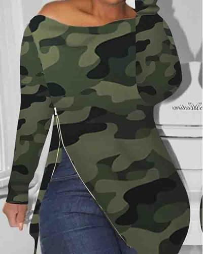 Boat Neck Side Zipper Camouflage Top