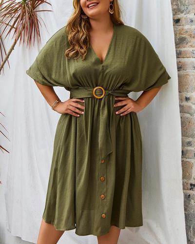 Plus Size V-neck Solid Color Sleeve Dress