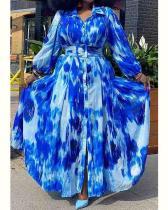 Plus Size Turndown Collar Belted Maxi Dress