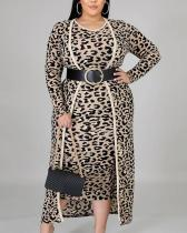 Plus Size Casual Leopard Print Long-sleeved Jacket Vest Dress suit