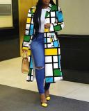 Plaid Printed Double Breasted Lapel Trench Coat Long Outerwear