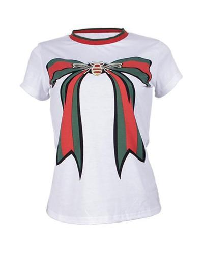 Plus Size Stripe Patchwork Bowknot T-shirt