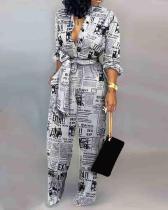 Women's Print Casual Letter Print Slim Jumpsuit