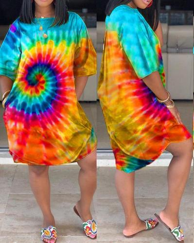 Plus Size Tie Dye Pocket Casual Dress