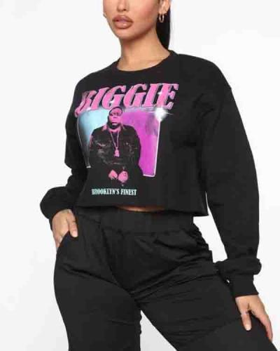 Casual O Neck Print Black Plus Size Hoodie