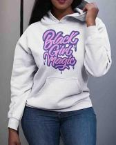 Casual Hooded Collar Letter Print Plus Size Hoodie