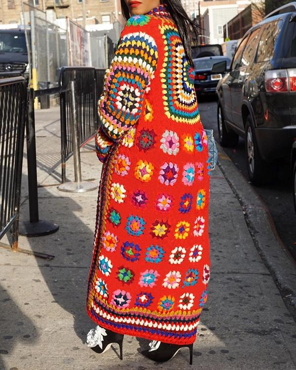 Bohemian Print Multicolor Long Plus Size Coat