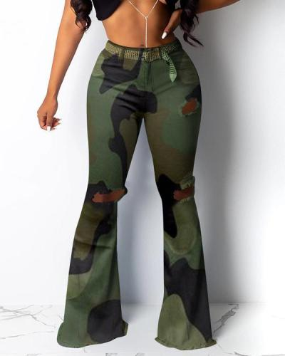 Ripped Flared Pants Camouflage Leopard Print High Stretch Fabric Trousers