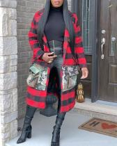 Plaid Stitching Coat Long Outerwear