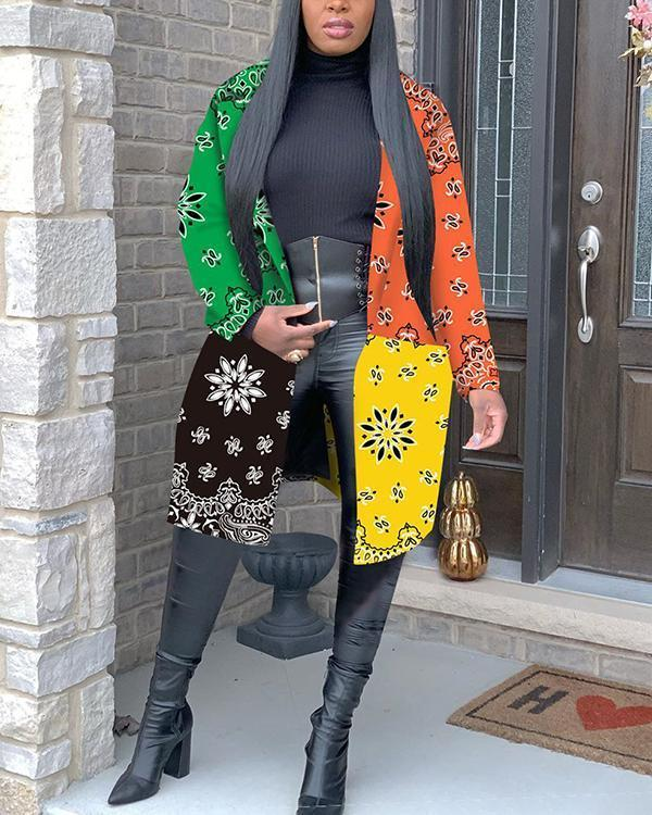 Four-color Stitching Coat Long Outerwear