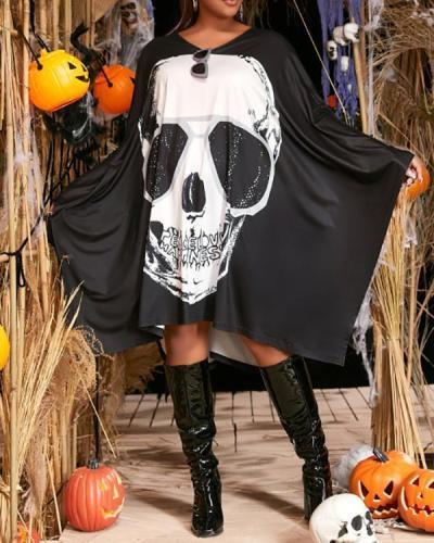 Halloween Skull Cape Cloak Dress
