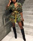 Trendy Camo Print Plus Size Coat
