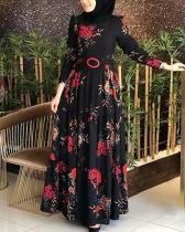Plus Size Printed Ethnic High Waist Maxi Dress