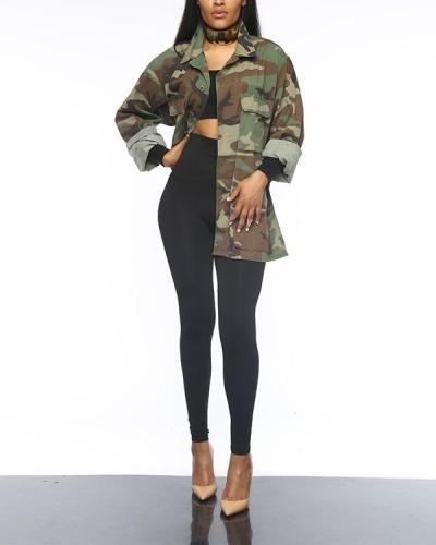 Trendy Camo Print Plus Size Coat