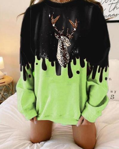 Plus Size Color Contrast Elk Print Oversize Pullover Sweatshirt