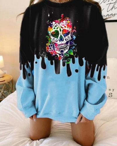 Plus Size Color Contrast Skull Print Oversize Pullover Sweatshirt