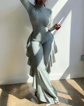 Ruffled Fashion Casual Digital Print Jumpsuit