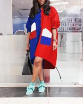 Plus Size Color Splicing Wind Coat Dress