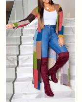 Printed Color Splicing Cardigan Coat