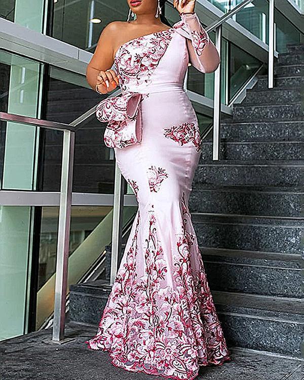 Printed Woven Stitching Fishtail Maxi Dress