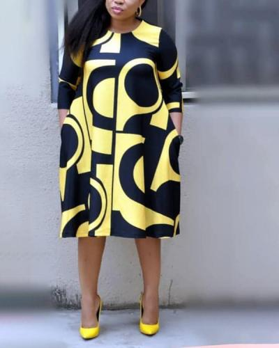 Printed Round Neck Basic A-line Mid-sleeve Dress