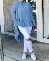 Asymmetrical Long-sleeved Loose Ruffled Stitching Shirt Tops
