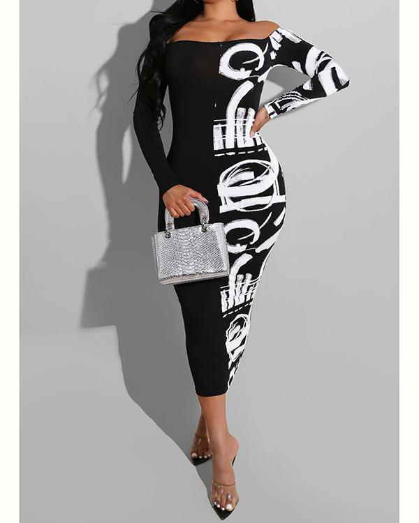 Long Sleeve Mid-Calf Color Block Patchwork Women's Dress