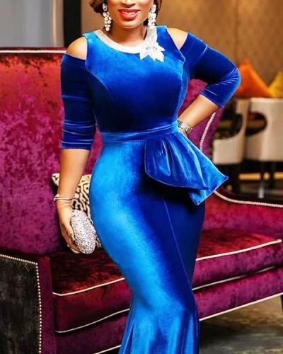 Gold Velvet Slim Off-shoulder Irregular Evening Dress