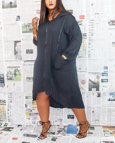 Hooded Collar Zipper Loose Midi Dress