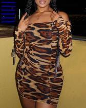 Stylish Dew Shoulder Print Mini Plus Size Dress