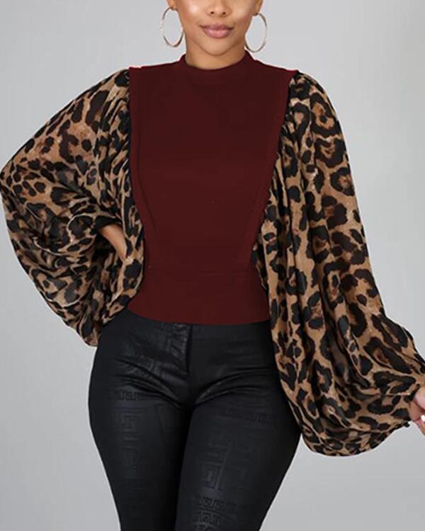 Leopard Puff-Sleeve Top