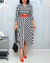 Striped Stitching Midi Dress with Belt