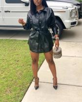 High-waist Lace-up PU Leather Tops Dress
