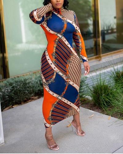 Long Sleeve Printed Bodycon Maxi Dress