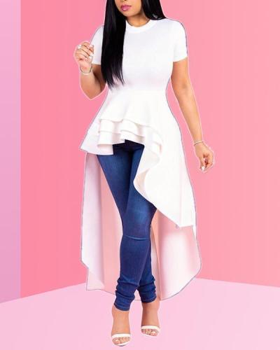 Fashion Evening Dress Short Sleeve Ruffle Tops Dress