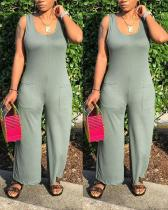 Sexy Round Neck Sleeveless Wide-leg Pants Jumpsuit