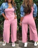 Sexy Round Neck Sleeveless Wide-leg Pants Jumpsuit