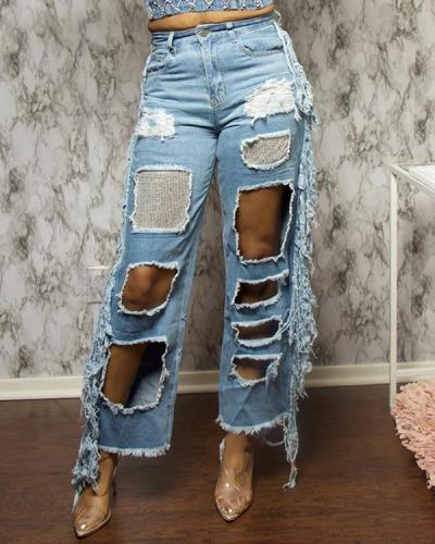 Hollow Out Tassel Splicing Sequin Jeans