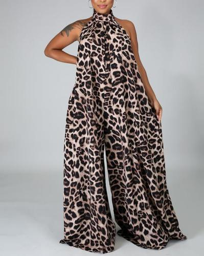 Sexy Leopard Print Open Back Sleeveless Wide-leg Pants Jumpsuit