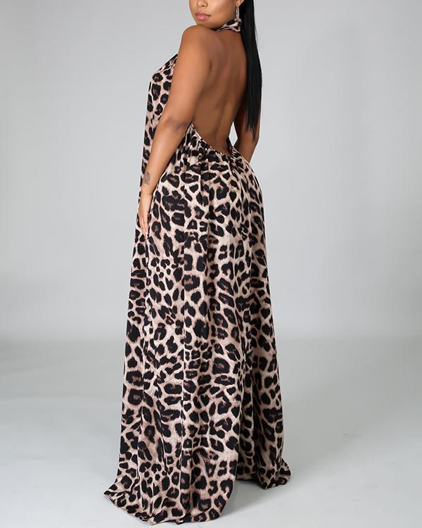 Sexy Leopard Print Open Back Sleeveless Wide-leg Pants Jumpsuit