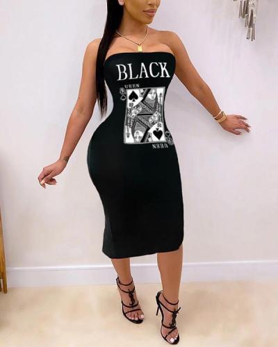 Sexy Fashion Off-Shoulder Slit Print Dress