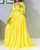 Plus Size Pleated V-Neck Lantern Sleeve Plain Women's Maxi Dress