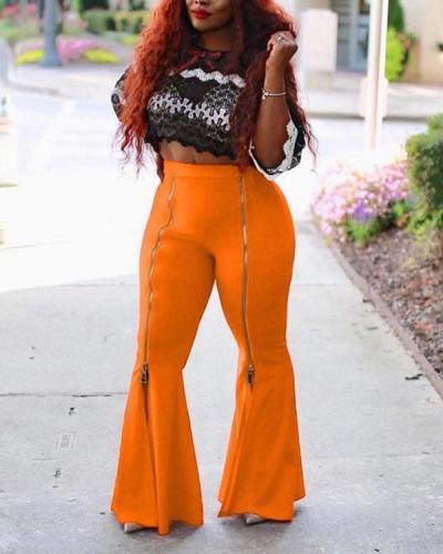 Slim Zipper Plain Wide Legs Women's Casual Pants