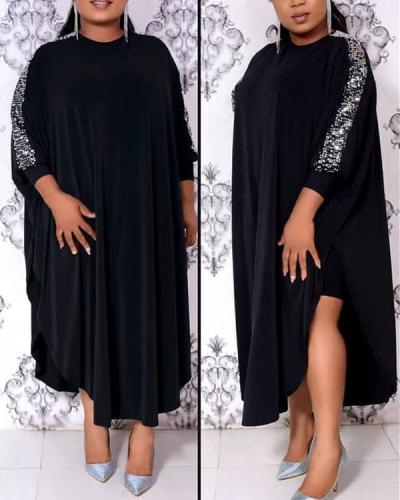 Plus Size Sequins Asymmetrical Women's Maxi Dress
